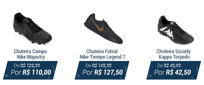 a081589e04 1 - Chuteira campo Nike  2 - Chuteira futsal Nike  3 - Chuteira society  Kappa.